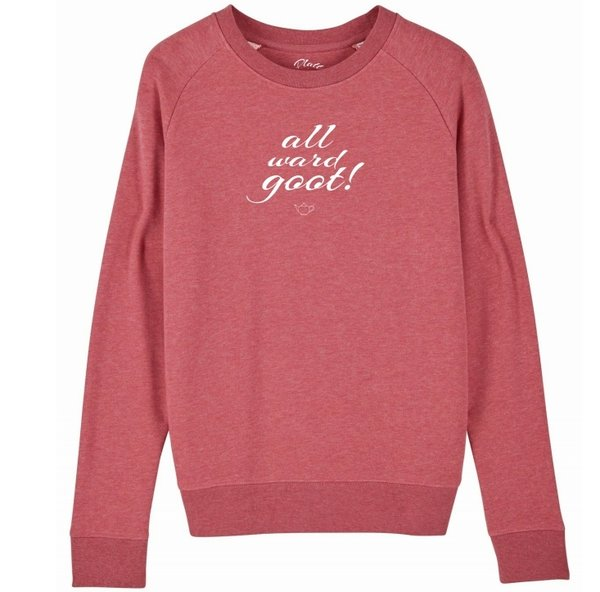 Sweatshirt Deerns - All ward goot! - Cranberry Pink meliert